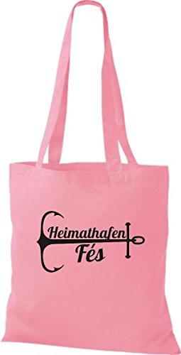 ShirtInStyle Stoffbeutel Baumwolltasche Heimathafen Fés rosa