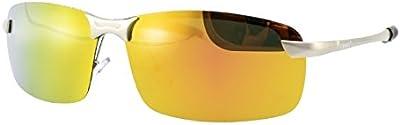 LZXC Gafas de sol polarizadas HD espejo dorado lente conducciš®n deporte al aire libre Hombre Mujer irrompible Metal