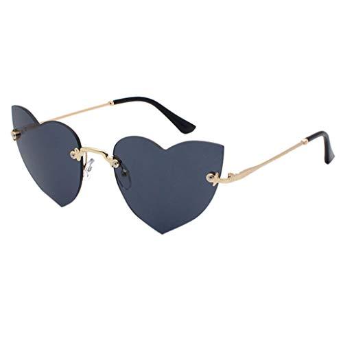 Lazzboy Polarisierte Sonnenbrille Für Frauen Mann Verspiegelte Linse Mode Brille Brillen Hippy Herz Geformt For Hippie Verrücktes Kleid Zubehörteil(Schwarz)