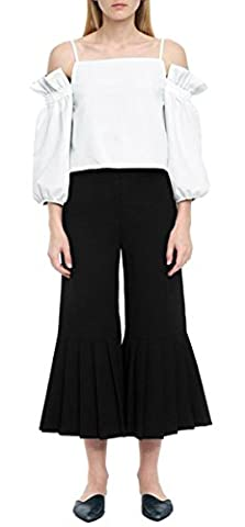 Fempool Women White Off-Shoulder Top And Black Pleated Wide-Legged Pants Sets (UK20-22, White)