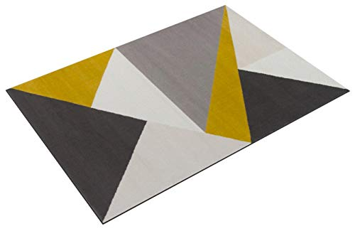 The Rug House Milan Alfombra Moderna con diseño Abstracto Llamativo Color Amarillo Ocre Mostaza Dorado Grafito Verde