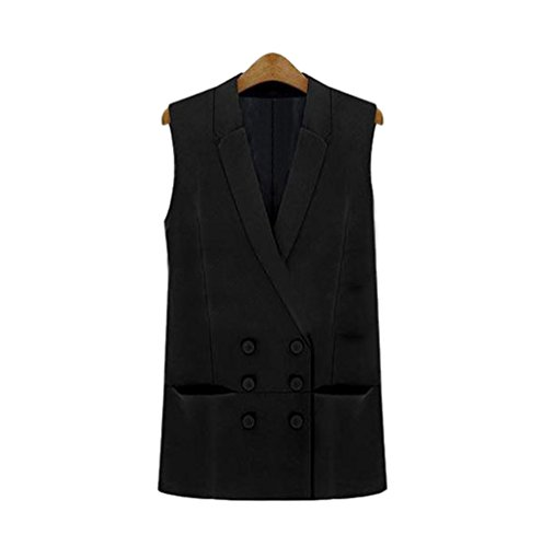 CHENGYANG Damen Business Stilvoll Zweireiher Ärmellos Blazer Anzugweste Jacke mit Revers Schwarz S