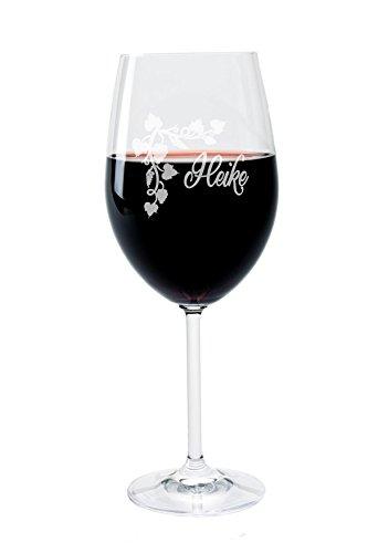 Leonardo Weinglas mit Gravur des Namens und Motiv Weinranke Wein-Glas graviert