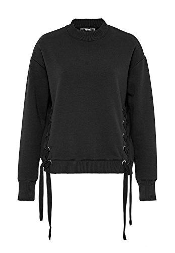 HALLHUBER Sweatshirt mit Ösen und Schnürungen gerade und weit geschnitten schwarz, L (Öse Jumper)