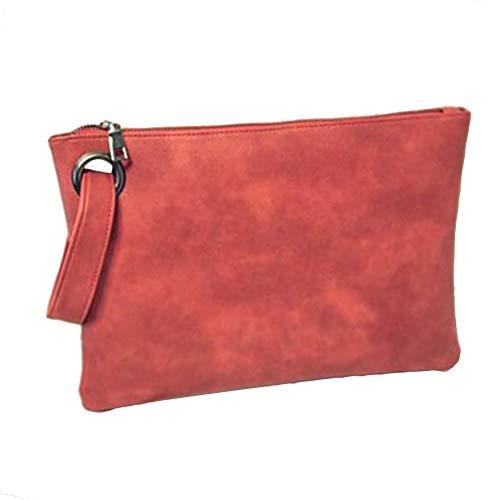 jEZmiSy Clutch Bag, Kunstleder Einfarbig Armband-Reißverschluss Großer Umschlag Frauen Watermelon Red