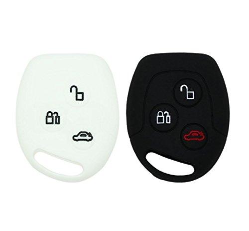 Ylc 2 pezzi silicone custodia di protezione per chiave auto car key cover per ford mondeo festiva fiesta focus 3 pulsanti(nero + bianco)
