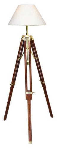 Eindrucksvoll dekorative Stehlampe Stativ Lampe Leuchte Dreibein-Stativ antik, max. Höhe 146 cm, Lampenschirm hellbeige/cremeweiss, Ø 35 cm im klassizistischen Architekturstil ehemaliger britischer Kolonien