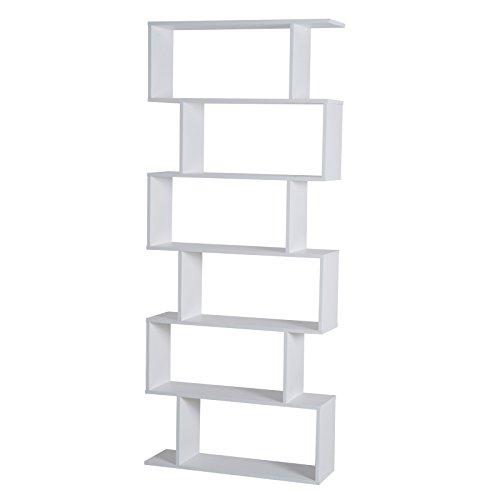 HomCom® Estantería Alta Librería 6 Estantes Comedor Salón Diseño Moderno Montaje de Pared 80x23x192cm Madera Blanca