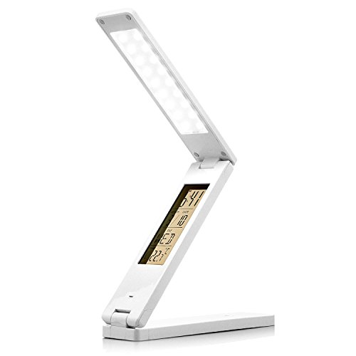 saxonia schreibtischlampe led tischlampe b rolampe dimmbar mit uhrzeit kalender wecker wei. Black Bedroom Furniture Sets. Home Design Ideas