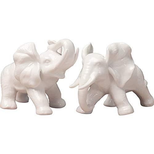 FENDOUBA Elefant Skulptur Tier Geschenke Figur Keramik Statue Ornament Handwerk Hauptdekorationen Büro Dekorationen Set Von 2 Deko Skulptur