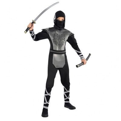 Ninja Samurai Krieger Heulender Wolf Kostüm Kinder Gr. 174