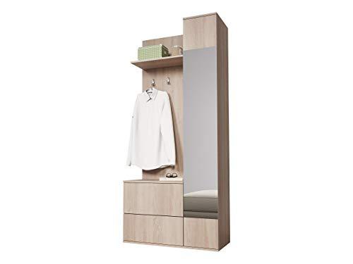 Mirjan24  Garderoben-Set Green, Flurgarderobe, Wandgarderobe, Farbauswahl, Schuhschrank, Spiegel, 3 Kleiderhaken (Eiche Sonoma)