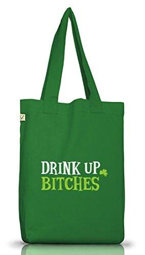 Giorno Di San Patrizio Patricks Day Jutebeutel Stoffbeutel Earth Drink Positivo Up Bitches Motiv Moss Green