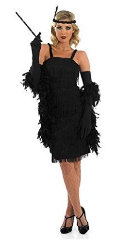 Schwarz Übergröße Flapper Kostüm - Damen schwarz rot lila Silber 1920s Jahre 30s Flapper Charleston Great Gatsby Fransen mit Quasten Kostüm Kleid Outfit 8-30 Übergröße - Schwarz, 8-10