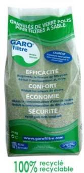 Garofiltre Filterglas für Pools (Glassand), Anwendung im Schwimmbeckenfilter anstelle von Sand, 20kg Sack, Feinkörnung 0,7–1,3mm