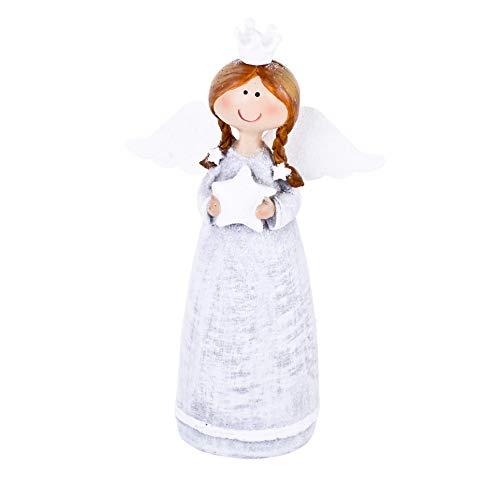 Dadeldo-Home Engel Katrin Deko-Figur Resin Silber-Weiss Weihnachten (13x7x3cm) -