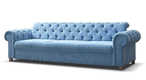 mb-moebel Sofa Chesterfield 3-Sitzer Couch im englischen Stil mit Federkern-Polsterung Vintagesofa Retrosofa Chesterfield BLAU
