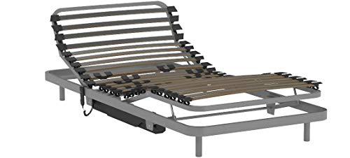 Verstärktes elektrisches Gelenkbett Basic 90x190 cm.Verstärkter Bettboden mit Kabelfernbedienung Geriatrischer und häuslicher Gebrauch Wird komplett montiert und mit Express-Service auf Lager geliefert