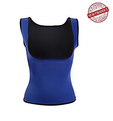 Ducomi Faja Reductora Mujer - Camisetas Sauna Adelgazante - Ajustada para Lograr una Silueta Abdomen Plano - Ideal Mientras se Practica Deporte y en la Vida Cotidiana (M, Azul)