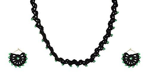 HEBA'S CREATIONS Black Fabric Choker Necklace Set for Women (HCCHGZ06)