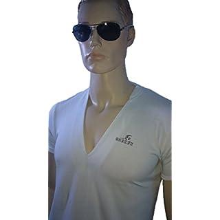Srazda - Tee-shirt blanc grand col V profond - Homme - Coupe ajustée au niveau du buste - Manches courtes - logo et écriture devant en pailleté multicolor