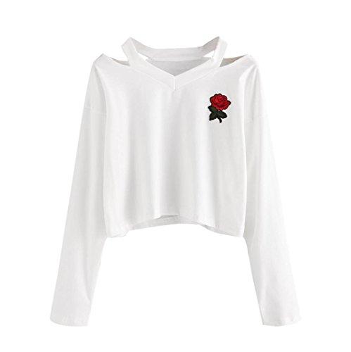 OVERDOSE Damen Sommer Frauen-Reizvolle Rosen-Druck Tank Top Sommer-Reizvolle Kurzarm Shirts Bluse Tops Pulli (S, B-A-Weiß) (Baumwolle Tank Bestickte Kleid)