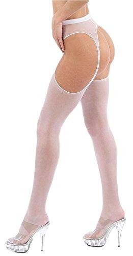 Krautwear Damen Strumpfhose Offen Netzstrümpfe Halterlose Netz Straps Strümpfe Elegant Sexy Netzstrumpfhose Hoher Bund Schwarz Rot Weiss Neon Pink Grün Kostüm Fasching Karneval 80er (Kostüme Netzstrümpfe Mit Halloween)
