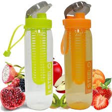 Steelo Sante Fruit Infuser Plastic Water Bottle (Assorted) - Set of 2