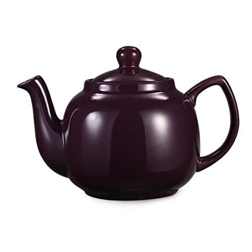 Urban Lifestyle Teekanne/Teapot Klassisch Englische Form aus Keramik mit Nicht-tropfendem Ausguss Oxford 1,2L mit Teefilter aus Edelstahl (Aubergine)