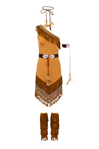 Ladies Pocahontas Fancy Dress Costume Hen Night Party Outfit Native American Squaw ()