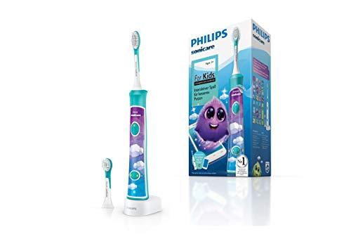 Philips Sonicare For Kids Elektrische Zahnbürste HX6322/04, mit Schalltechnologie, für Kinder, sanfte Reinigung, türkis - 1 Zahnbürste Elektronische Jahr