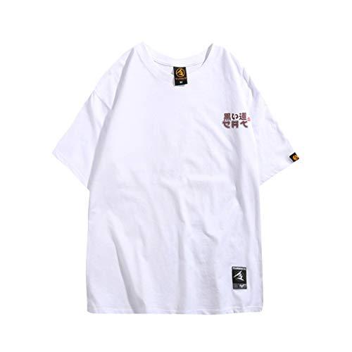 WQIANGHZI T-shirt Herren Paar Tragen Rundhals Europäischer und Amerikanischer Druck Loses kurzärmliges Oberteil Front Einfarbig (Jugend Hawaiian Shirt)