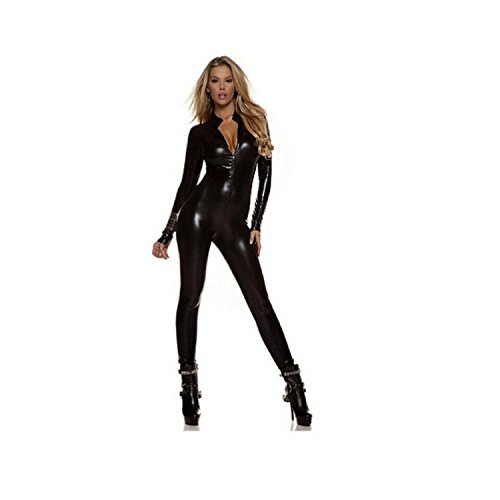 XSQR Sexy Overall Lack Anzug Wetlook Catsuit Bodys Dessous Nachtkleid Party Clubwear Catlady ()