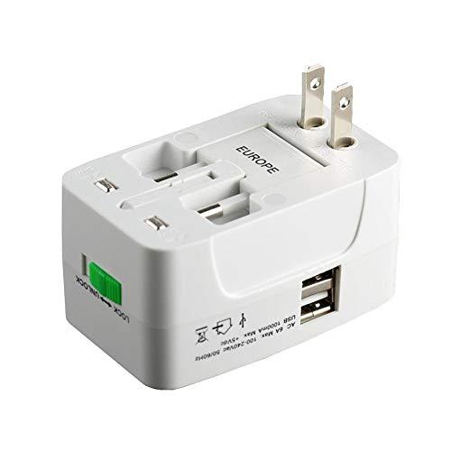 YZOTEK Reiseadapter - Weltweit Alles in Einem Universal Netzteil, Multifunktions Netzstecker Internationales Ladegerät mit Zwei USB Ladeanschlüssen für US EU UK AUS Europa Handlicher Laptop (Weiß)