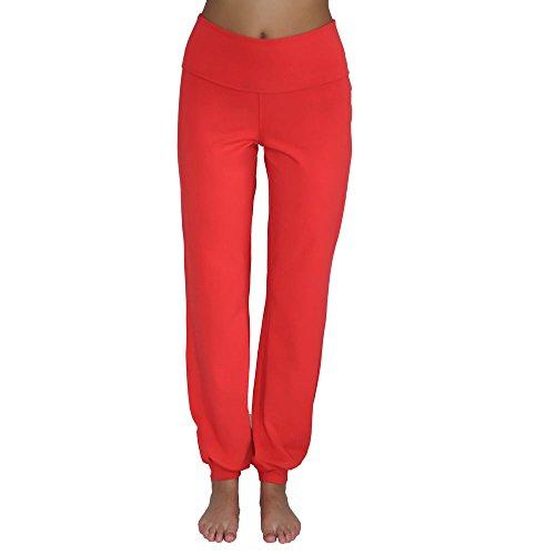 Leela Cotton Damen Yoga-Hose Bio-Baumwolle/Elasthan, Hibiskus, Gr. L Bio-baumwolle-yoga-hosen