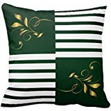 White Dark Green Stripes With Gold Accents Throw Pillow Case 18