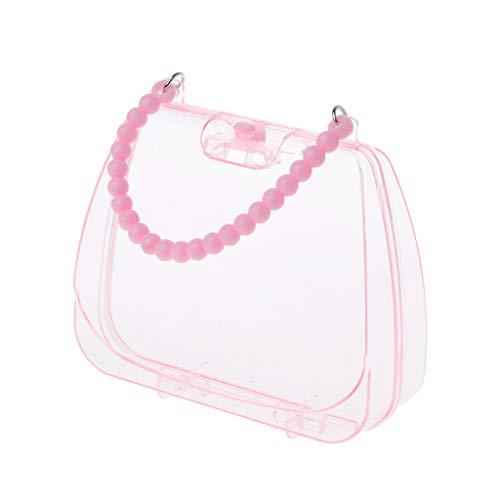 Rosa Schmuck Storage Box-Handtasche, Dame Transparente Jewelry Box Aufbewahrungstasche, sehr geeignet für Reisen, Wochenend-Urlaub, Schule, Einkaufen und andere Outdoor-Aktivitäten im täglichen Leben.