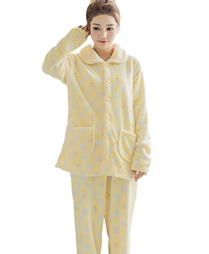 YOUJIA Damen Pyjama Set Warme Flanell Pj Schlafanzughosen Bequem Schlafanzüge Nachtanzug Hausanzug (Gelb Pinguin #Cardigan, CN L) (Pj Baumwolle Flanell Set)