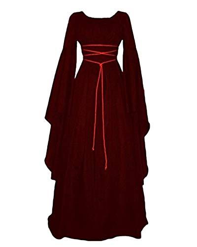 Donna Abito da Cocktail retrò Vestito Medievale Lungo Costume di Halloween Bodeaux M