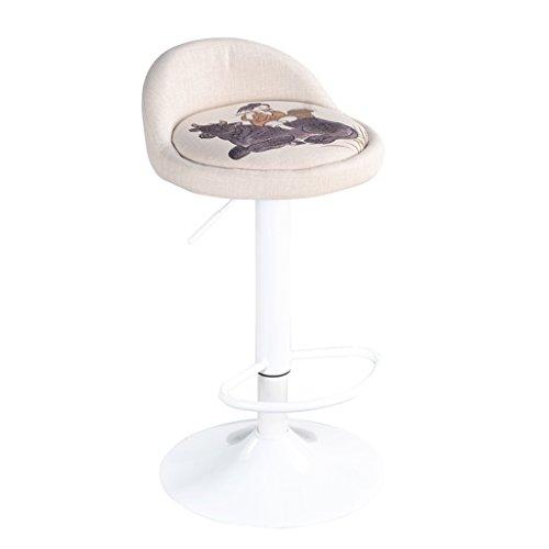 YXYH Rollhocker,Kontinental Kreisförmig Band Rückenlehne Stuhl Aufzug Hoher Stuhl Drehen Gelten Bar/Rezeption/Salon/Salon Warten (Farbe : Weiß) (Bar Rezeption)