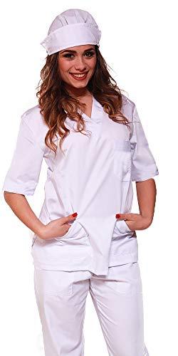 Promo - divisa bianca unisex sanitaria ospedaliera casacca e pantalone, no stiro, infermiere, oss, medico, spedizione 24/48h a casa tua (xl)