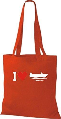 JUTA Borsa di stoffa I LOVE barca da pesca, CAPITANO Rosso