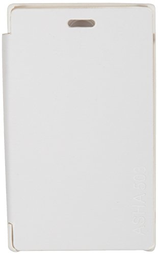iCandy™ Synthetic Leather Flip Cover For Nokia Asha 503 - WHITE  available at amazon for Rs.180