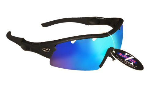 Ray-Zor Rayzor Professionelle Sonnenbrille für Damen und Herren von Lightweight Water Sports Wrap Eyewear, UV400, blendfrei, bruchsicher, Schwarz mit blauem Spiegelglas