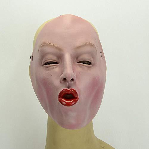 Womens Red Latex (Littlefairy Halloween mask,Halloween Masquerade Red Lip Woman Latex mask)