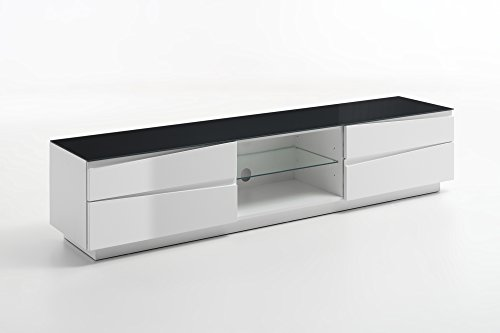 Homexperts TV Lowboard Sharpcut-Living in Hochglanz Weiß foliertem Holz / Glas in Graphit-Optik / Fernsehtisch mit viel Stauraum / 42 x 199 x 43 cm / (T x B x H) -