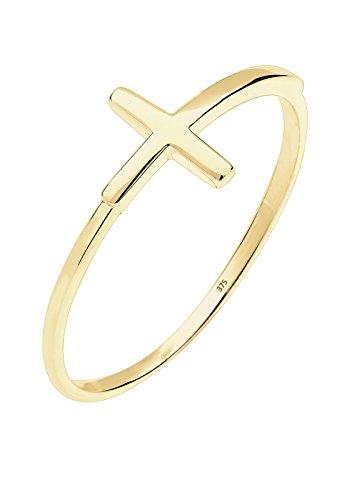 Elli Damen Ring Kreuz 375 Gelbgold 925 Sterling Silber Größe: 52 mm 0609980115 (Kreuz Ring Gold)