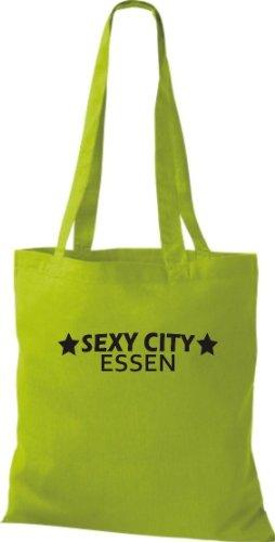 Pochette en tissu Sexy City repas City Style Sac en coton, Sac, Bandoulière, plusieurs couleurs Vert - Citron vert