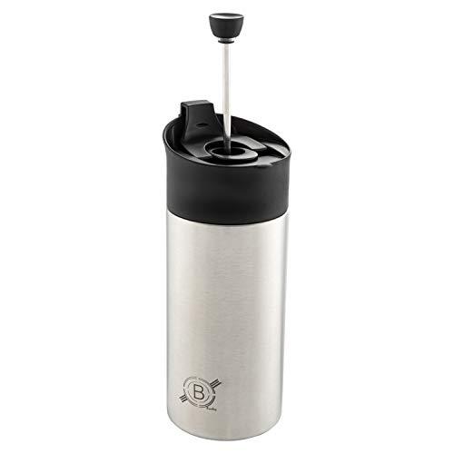 French Press & Go | Kaffeebereiter Becher to-Go Aus Edelstahl In Silber.(350ml)