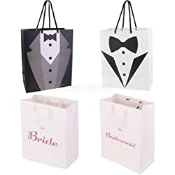 Alcoa Prime 4x Fashion Bride Bridesmaid Groom Tuxedo Wedding Party Paper Gift Bag Handle